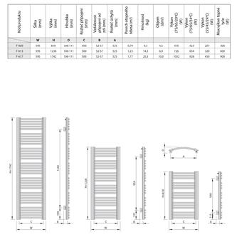 EGEON Heizkörper 595x1238mm, 739 W, weiß