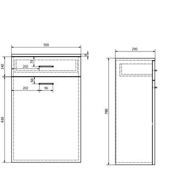 ZOJA/KERAMIA FRESH Unterschrank mit Wäschekorb 50x78x29cm, weiß