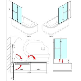 ODESSA pneumatische Wannenabtrennung 970mm, Profil in weiß, Klarglas