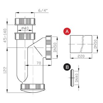 Waschtisch-Siphon 6/4' mit Überwurfmutter, Abfluss 50mm, Kunstsfoff