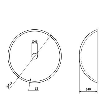 AGO Glas-Waschbecken Durchmesser 42 cm