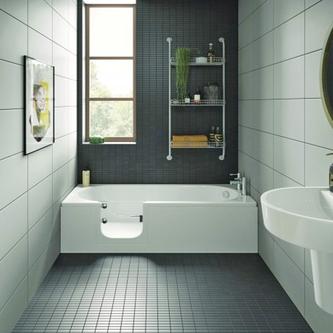 CASCADE Badewanne mit Tür/Seniorenbadewanne 150x70cm  Ausführung Links