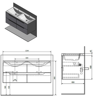 WAVE Doppelunterschrank 120x50x48cm, weiß/mali wenge
