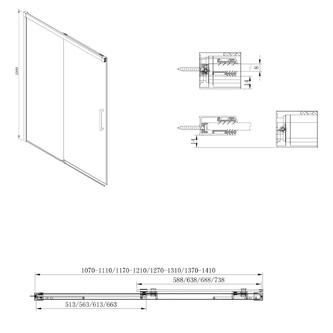 FONDURA Duschtür 1100mm, Klarglas