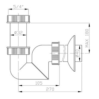 Waschtisch-Siphon mit Überwurfmutter 5/4' niedrig, Abfluss 40mm, Kunststoff