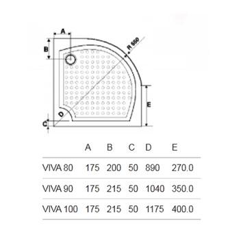 VIVA90 Duschwanne, Viertelkreis, 90x90x4cm, R550