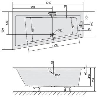 Raumspar Badewanne ANDRA 170x90x45cm, links, weiß