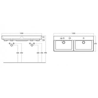KARE 120 Doppelwaschtisch 120x46 cm, für Badmöbel