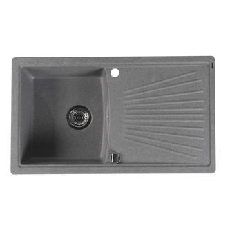 Granitspüle mit Abtropffläche 86,2x50 cm, grau