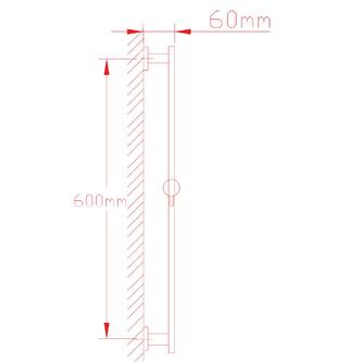 NANCY Duschstange mit Wasser-Wandanschluß, 600 mm, Chrom