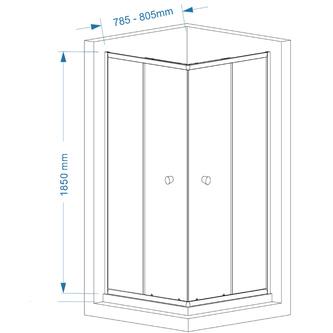 AGGA Duschabtrennung Quadrat 800x800mm, Klarglas