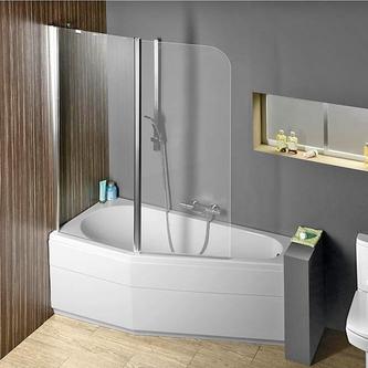 Raumspar Badewanne Tigra mit Duschzone 150x85/70cm, links, weiß, Komplett-Set