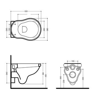 RETRO Hänge-WC, 38x52cm, weiss