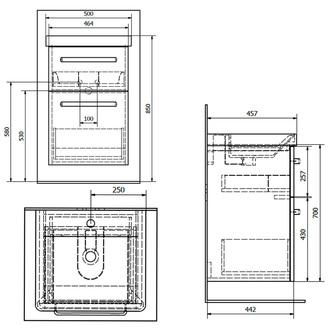 THEIA Unterschrank 46,4x70x43,5cm, 2xSchublade, Silbereiche