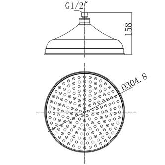 RETRO Kopfbrause mit Gelenk, Durchmesser 300mm, Chrom