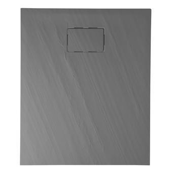 ATIKA Duschwanne aus gegossenem Marmor, 100x80x3,5cm Rechteck, grau, Steindekor