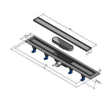 TILE Kunststoff-Duschrinne mit Edelstahl-Rost, zur Aufnahme von Fliesen, L=520mm