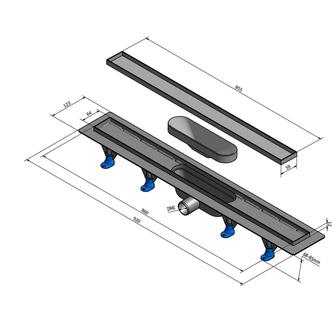 TILE Kunststoff-Duschrinne mit Edelstahl-Rost, zur Aufnahme von Fliesen, L=920mm