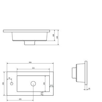 LATUS Gussmarmor-Waschtisch 45x2x23cm, weiß