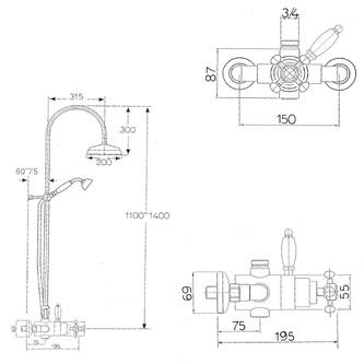 ANTEA Duschsäule mit Thermostat-Armatur, Nickel poliert