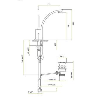 THOR Waschtischarmatur mit Ablaufgarniturgarnitur, Joystick, 220mm Chrom