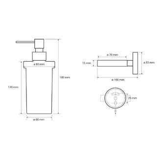 X-ROUND BLACK Seifenspender, Milchglas, 250ml, schwarz