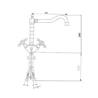 ANTEA Küchenarmatur mit Retro-Einlauf, 240mm, Chrom