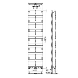 BONDI Badheizkörper 600x1798mm, Anthrazit