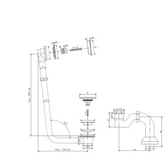 MODEL V1V Ablaufgarnitur mit Klick-Klack, Siphon, Chrom