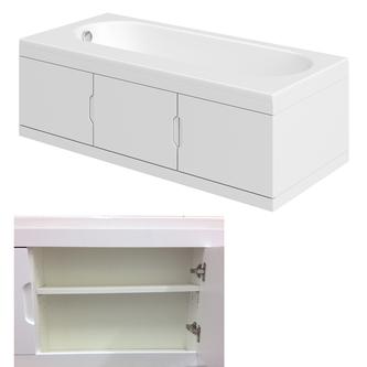 Rechteck Badewanne 167,5x76,5cm mit Einbauschrank und Duschkabine, Links