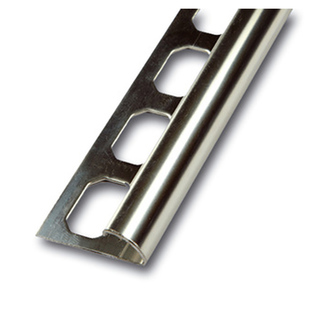 Viertelkreisprofil aus Edelstahl mit Schutzfolie, glänzend, 250cm lang, 8mmhoch