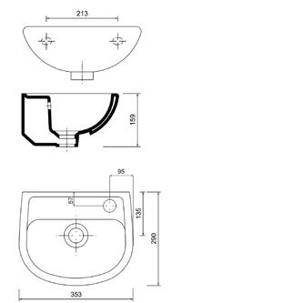 OVAL Keramik-Waschtisch 29x35cm