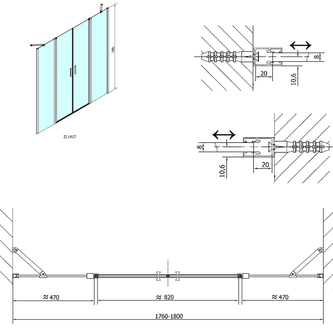 ZOOM LINE Duschtür 1800mm, Klarglas