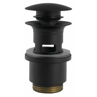 Ablaufgarnitur für Waschtische mit Überlauf,H.40-64mm,schwarz matt