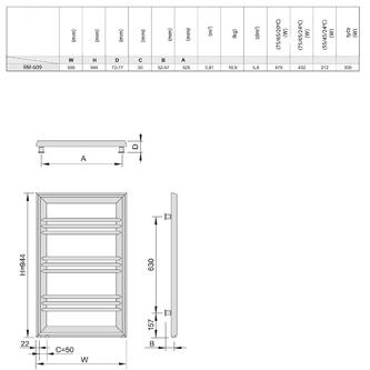 LEONTES Heizkörper 595x944mm, 423 W, Silber strukturell