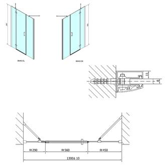 VITRA LINE Duschtür 1300mm, links, Klarglas
