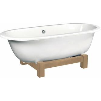 MATRIX W freistehende Badewanne 175x80x46cm, Holzgestell natur