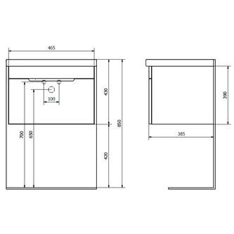ELLA Unterschrank 46,5x39x38,5cm, weiß