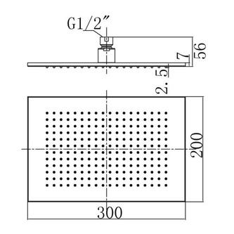 Kopfbrause, 200x300mm, Chrom
