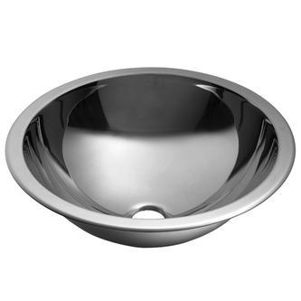 Handwaschbecken zum Einbauen, Durchmesser 355mm, Edelstahl gebürstet