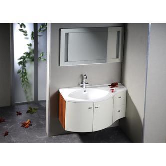 AILA Hochschrank mit Wäschekorb 35x140x30cm, links, vanille/Zwetschge