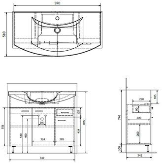 ZOJA Unterschrank 93x74x34cm, mali wenge