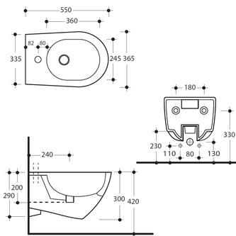 AQUATECH Hänge-Bidet 36,5x30x55cm