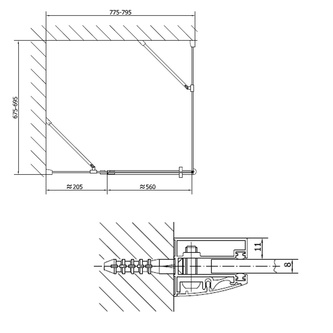 VITRA LINE Duschabtrennung Rechteck 800x700mm, rechts, Klarglas