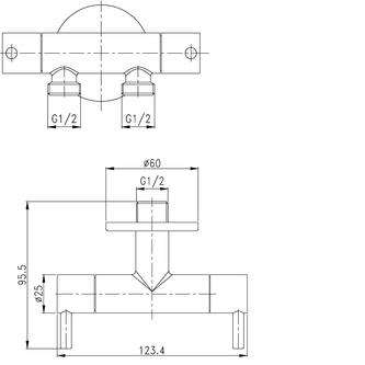 Doppelventil für WC- und Handbrause-Anschluss, Chrom