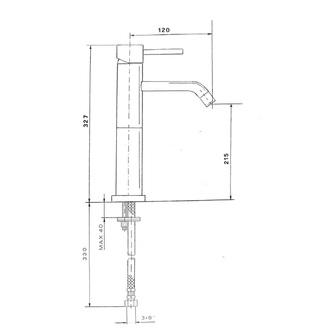 RHAPSODY Waschtischarmatur, hoch, ohne Ablaufgarnitur, Höhe 327mm, Chrom