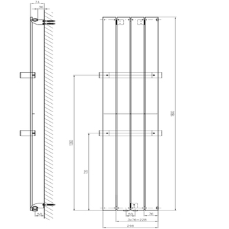 COLONNA Heizkörper 298x1800mm, Mocca metallic