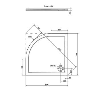 SERA Duschwanne, Viertelkreis 100x100x4cm, R500