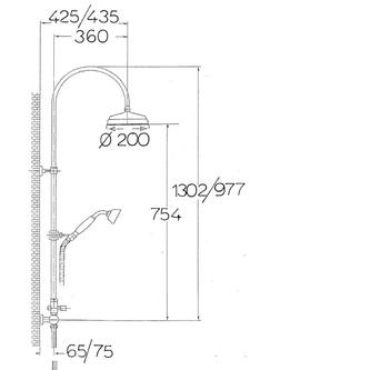 VANITY Duschsäule mit Armaturanschluss, 977-1302mm,  Chrom