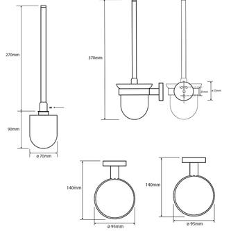 X-ROUND  Wand WC-Bürste, Behälter Glas satiniert, Chrom